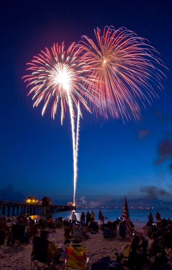 people sitting on beach watching fireworks being set off pier